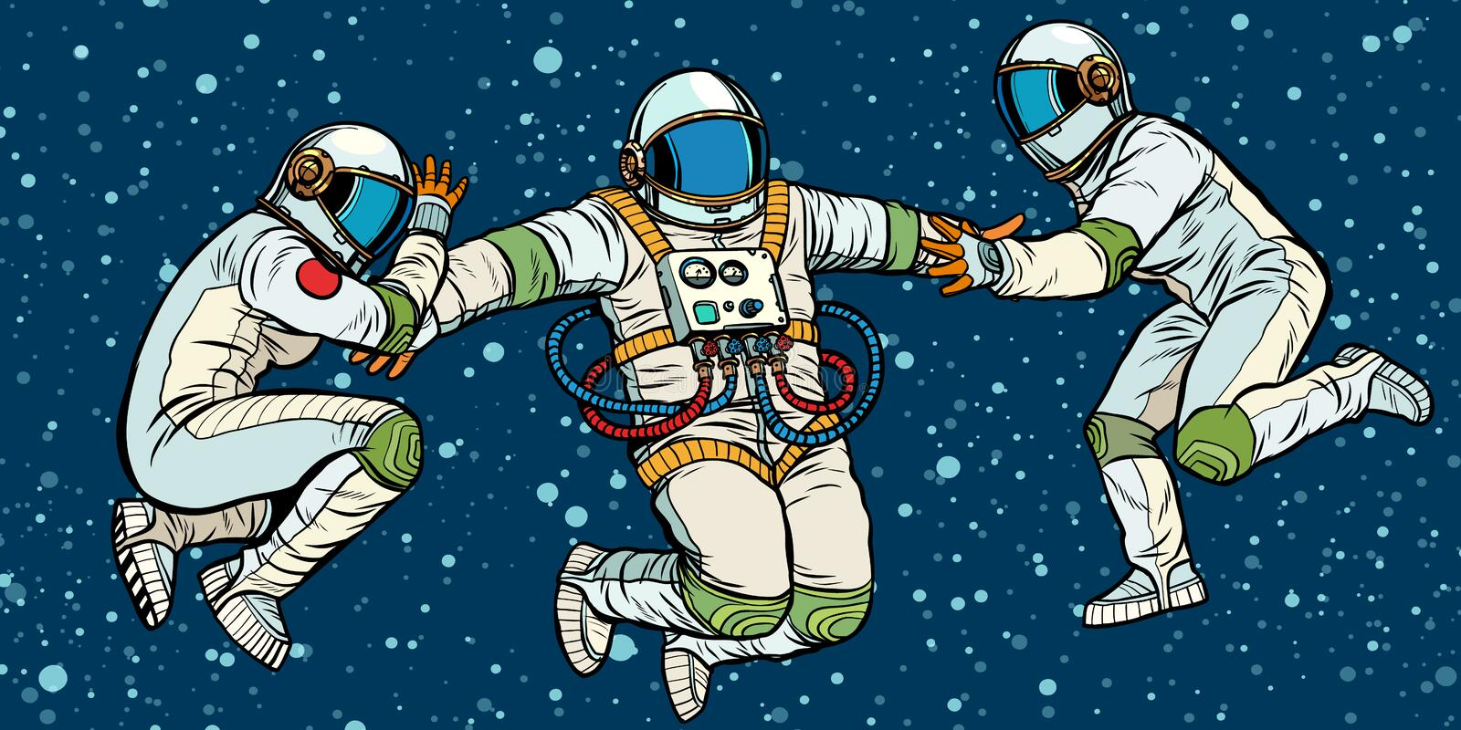 Three astronauts in space in zero gravity stock illustration