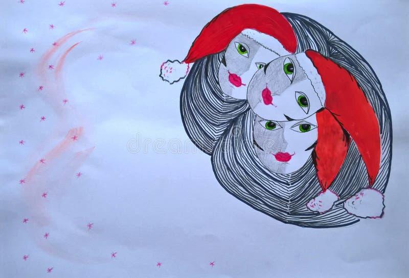 Three attractive women in Santa Claus hats. Hand-made illustration. vector illustration