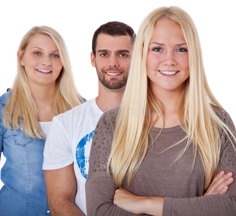 Three attractive young students stock photos