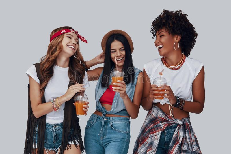 Three attractive young women royalty free stock photos