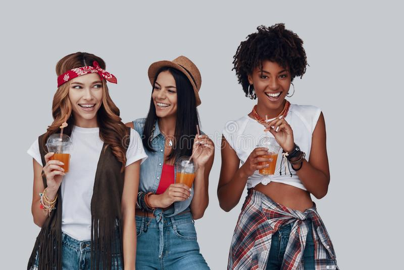Three attractive young women royalty free stock photo