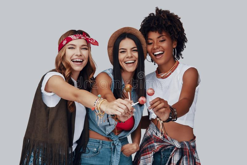Three attractive young women stock photography