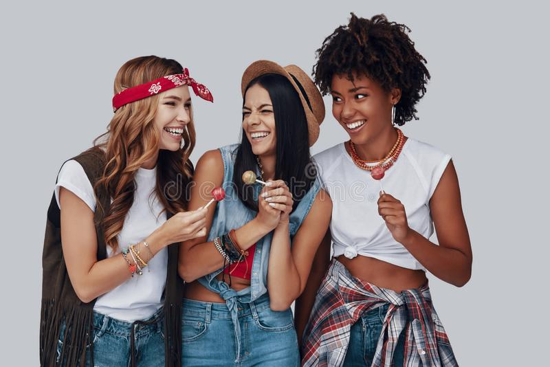 Three attractive young women stock photos
