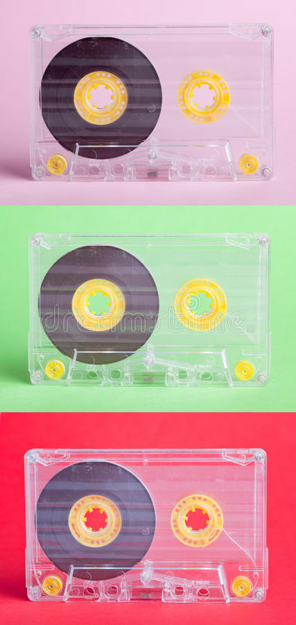 Three Audio Cassettes On Difrent Backgrounds Royalty Free Stock Photography