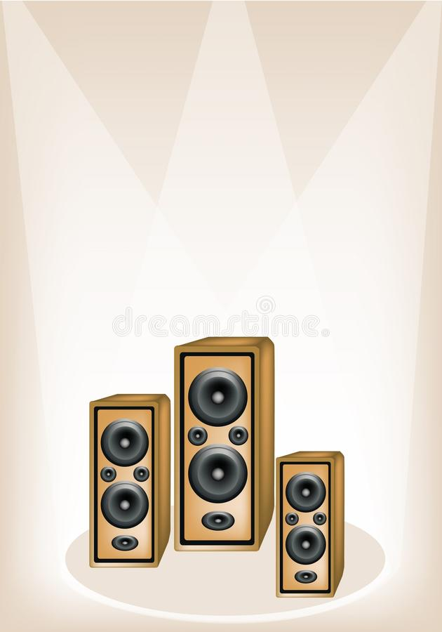 Three Audio Speaker On Brown Stage Background Royalty Free Stock Photo