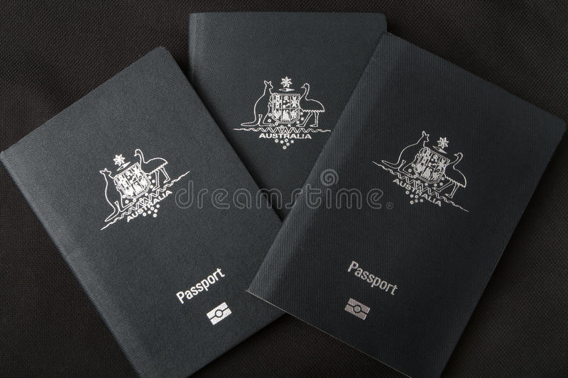 Three Australian passports stock image