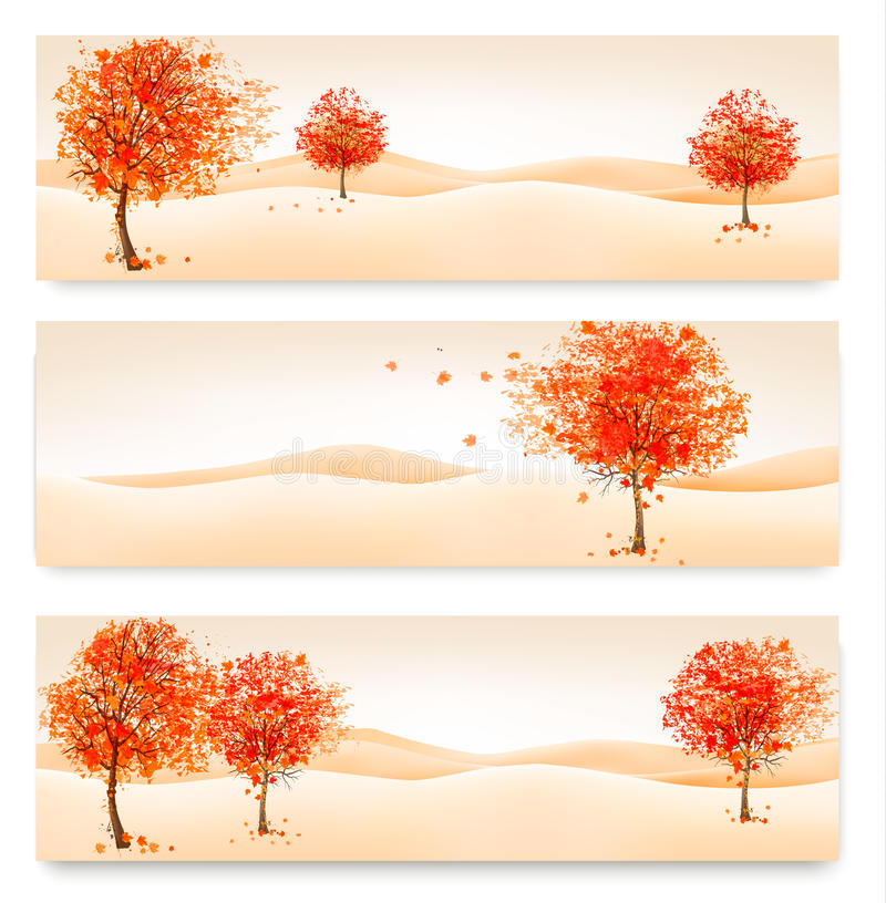Download Three Autumn Abstract Banners With Colorful Leaves And Trees. Stock Vector - Illustration of gold, forest: 44376304