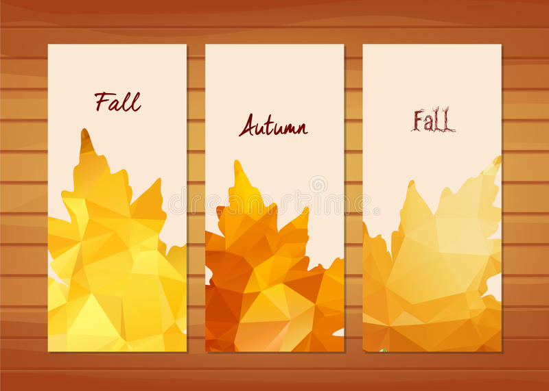 Three autumn banners with maple leaf in triangular style.  vector illustration
