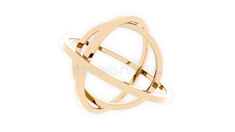 Three-axis gimbal van gouden ringen wordt gemaakt die Saldo, mechanische precisie of motieconcepten het 3d teruggeven vector illustratie