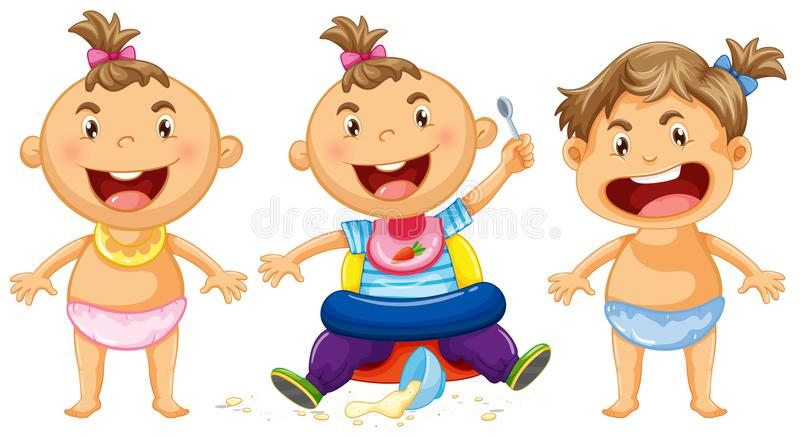 Three babies with big smile. Illustration royalty free illustration