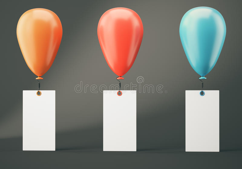 Three balloons with blank banners on dark grey background stock illustration