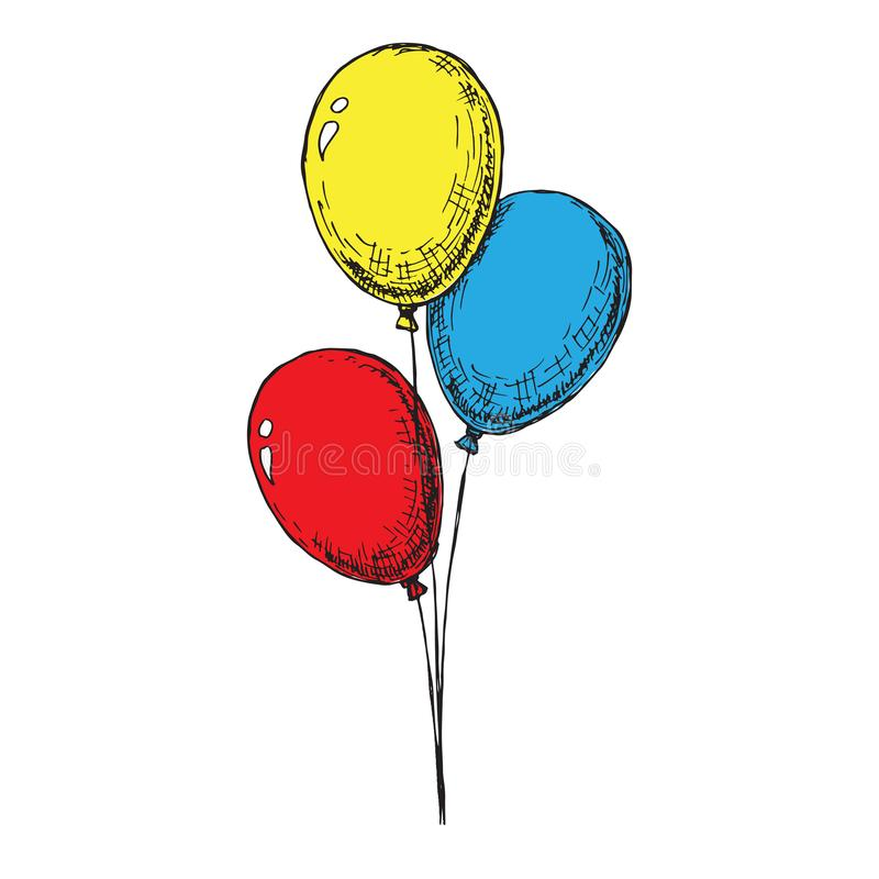 Three balloons on a string. Hand drawn, isolated on a white background. Vector. Illustration royalty free illustration