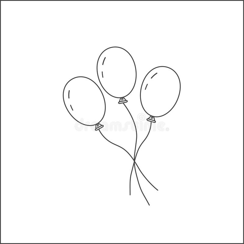 Three balloons on a string. The symbol of the holiday, the festival of the birth. Toy for children. Isolated on white background. Three balloons on a string royalty free illustration