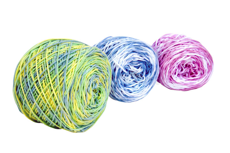 Three Balls of Bright Multi-Colored Crochet Cotton royalty free stock images