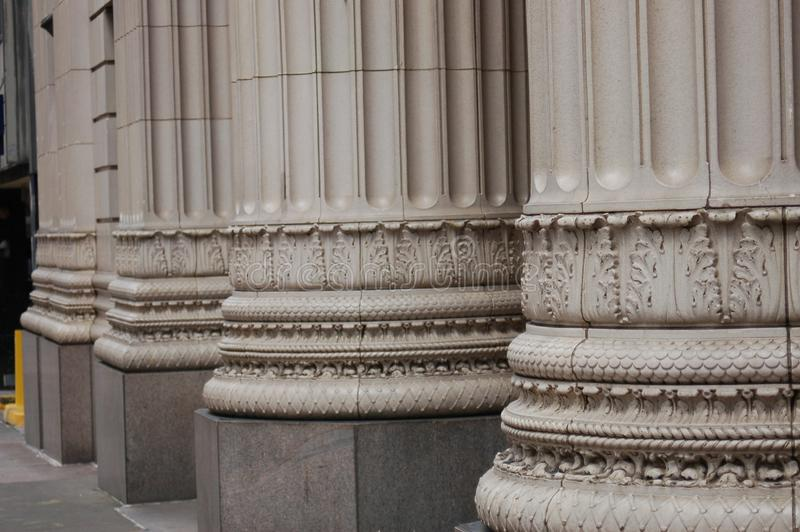 Three Bank Building Columns, Portland, Oregon stock images