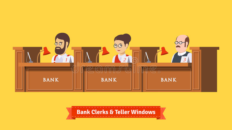 Three bank clerks at work. Teller windows with working professionals. Flat illustration. EPS 10 vector vector illustration
