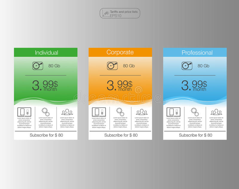 Three banner, price list, interface for the site. banner for web app. 3 position.Three pricing tables for web. vector illustration