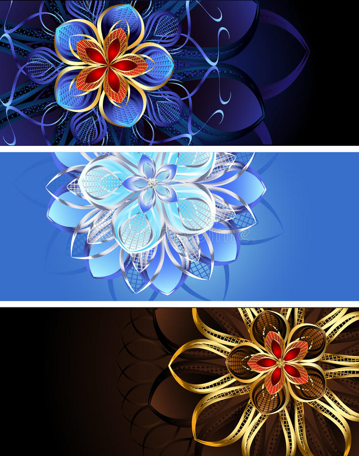 Three banners with abstract flowers. Three horizontal banners with abstract flowers jewelry vector illustration