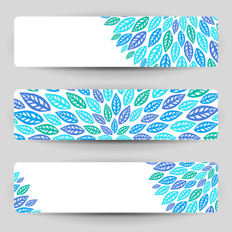 Three banners with blue leaves. Three banners with blue stylized leaves royalty free illustration