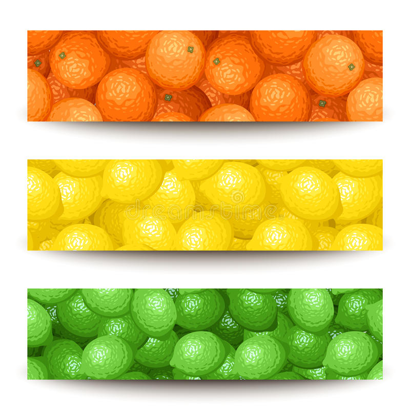 Three banners with citrus fruits. Set of three web banners (468x120px) with oranges, lemons and limes stock illustration