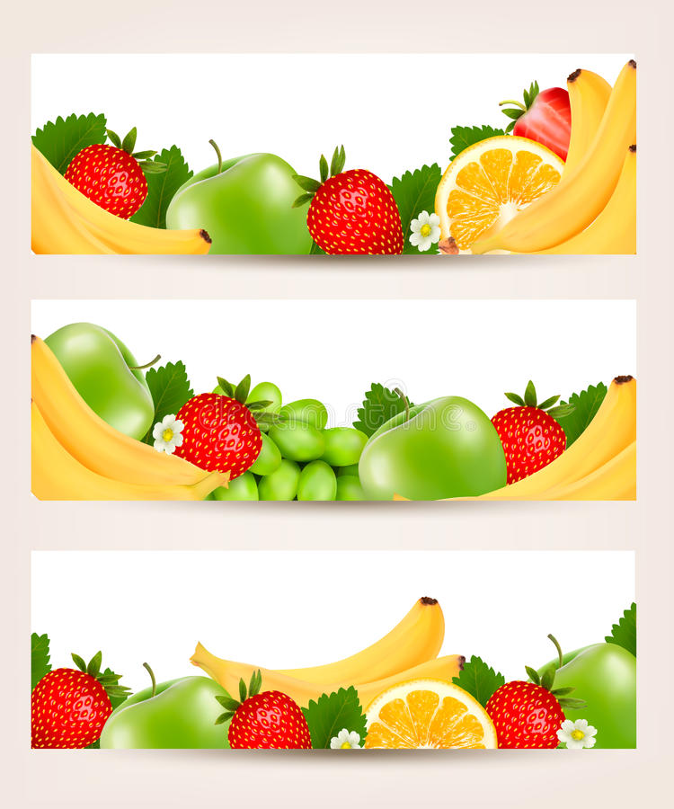 Three Banners With Delicious Ripe Fruit. Royalty Free Stock Photo