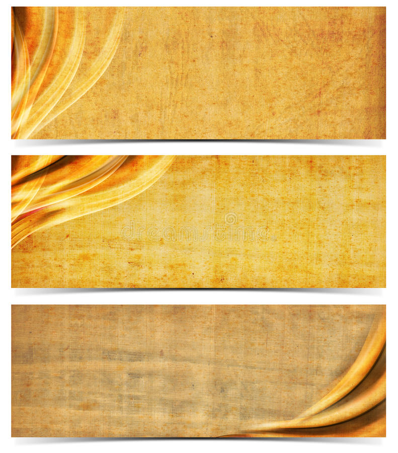 Three Banners with Old Yellowed Paper royalty free illustration