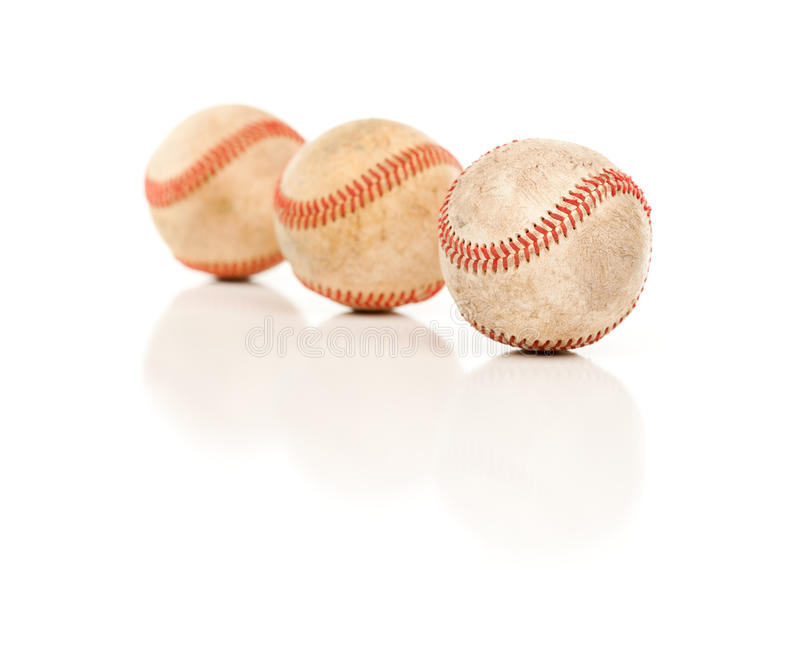 Download Three Baseballs Isolated On Reflective White Stock Image - Image: 14844799