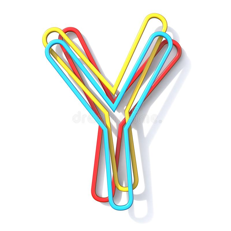 Three basic color wire font Letter Y 3D royalty free illustration