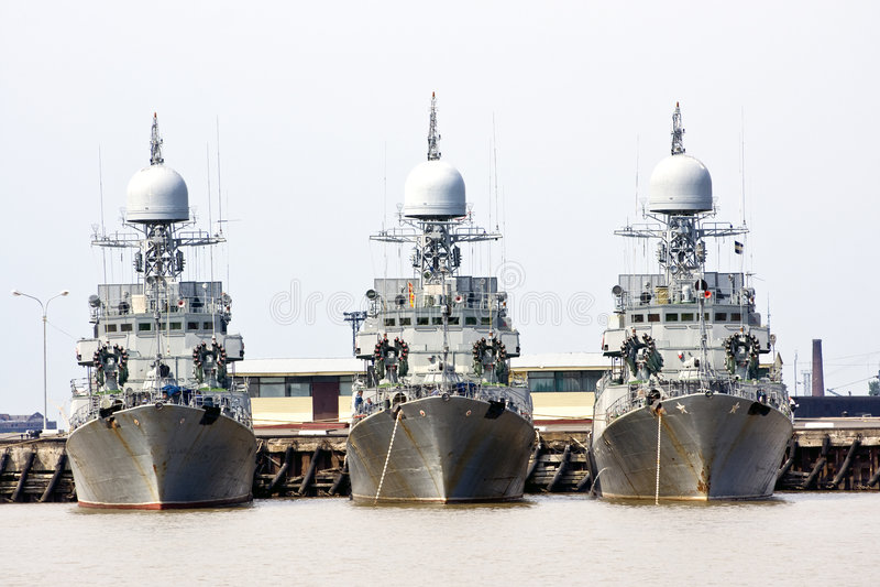 Three battleships royalty free stock photo