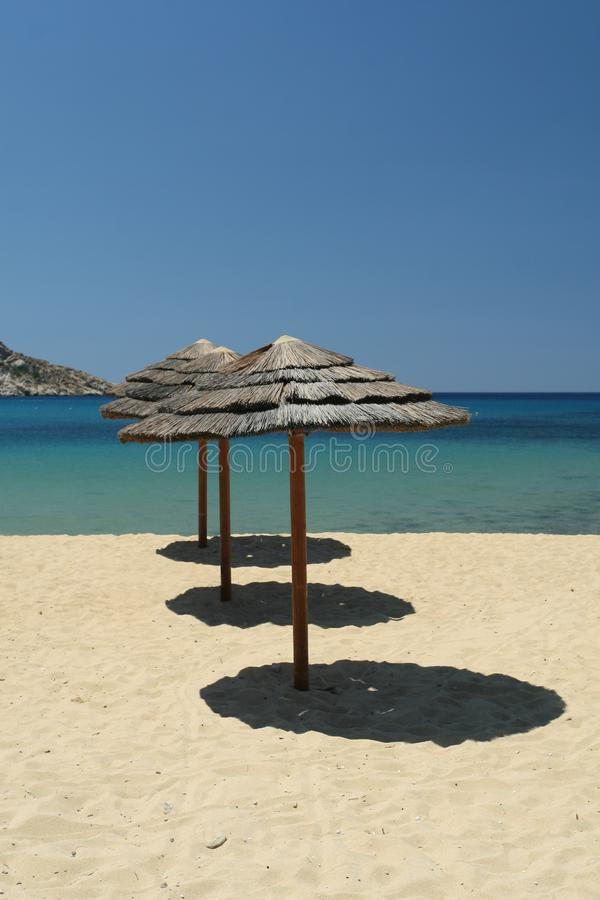 Three Beach Umbrellas royalty free stock image