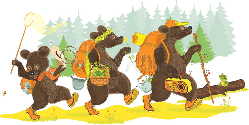 Three bears hiking stock illustration