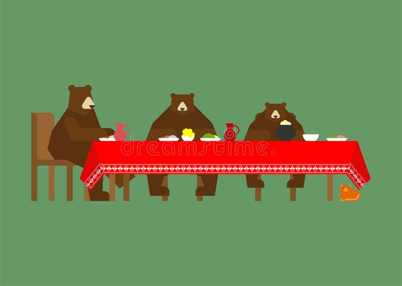 Three bears at table eating. Fabulous animals. Beast from a fair stock illustration