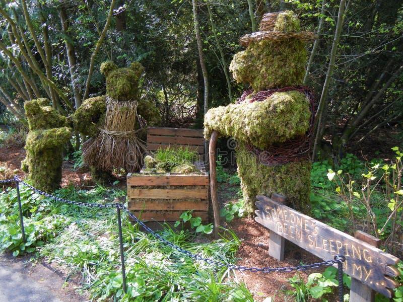 Three Bears Topiary. A topiary based on the children's story Goldilocks and the Three Bears royalty free stock photos