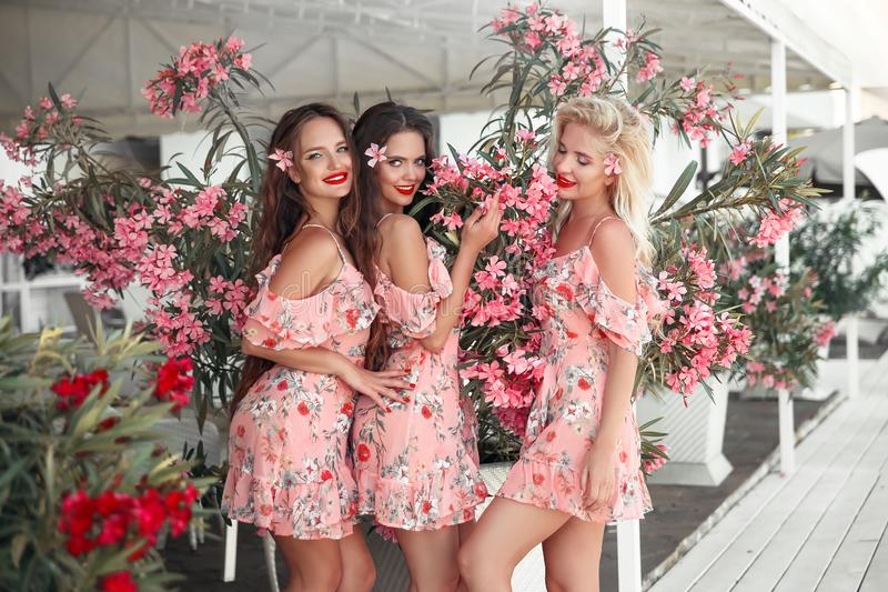 Three beautiful bridesmaid women in a pretty dress with flowers posing over pink blooming flowers background. Fashion photo. stock images