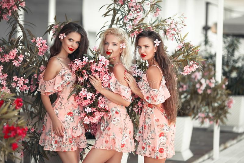 Three beautiful bridesmaid women in a pretty dress with flowers posing over pink blooming flowers background. Fashion photo. stock photography