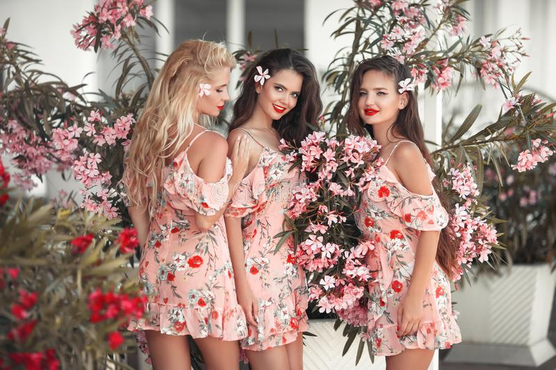 Three beautiful bridesmaid women in a pretty dress with flowers posing over pink blooming flowers background. Fashion photo. stock image