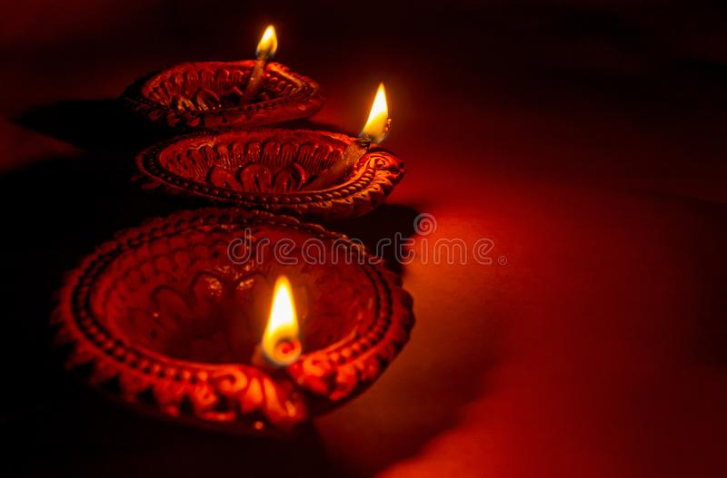 Diya or oil lamps lit during Diwali festival.Happy Diwali stock photography