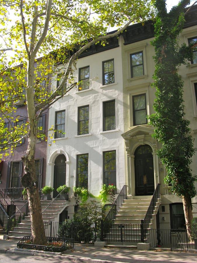 Three Elegant New York City Townhouses Stock Image