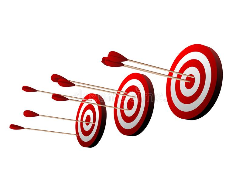 Three beautiful realistic red and white archery targets on white background royalty free illustration