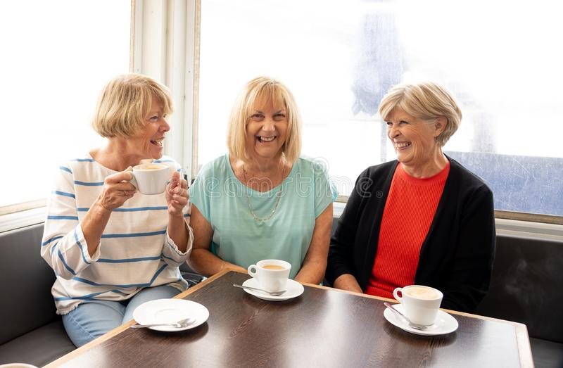 Three beautiful senior women enjoying retirement together having tea or coffee royalty free stock photography