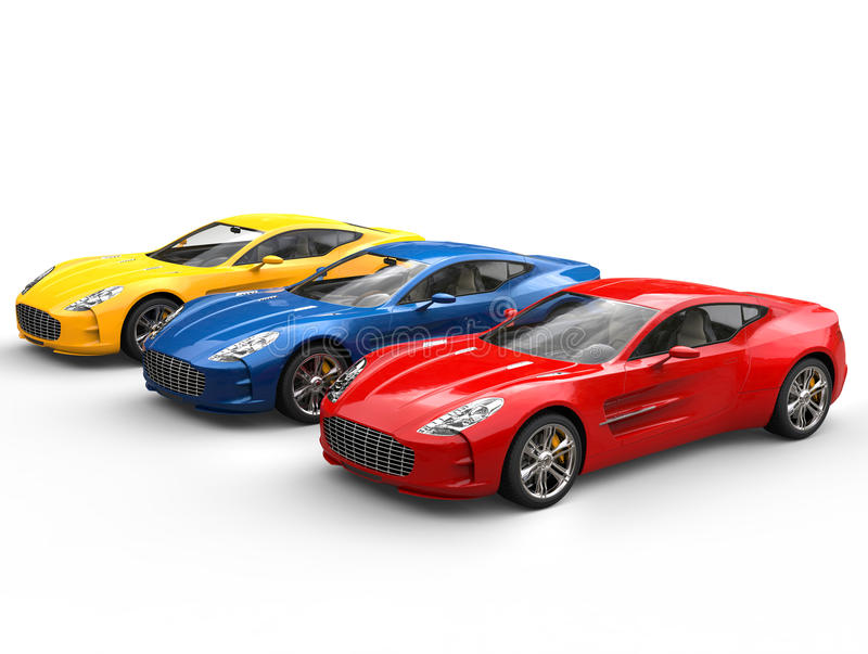 Three beautiful sports cars stock images
