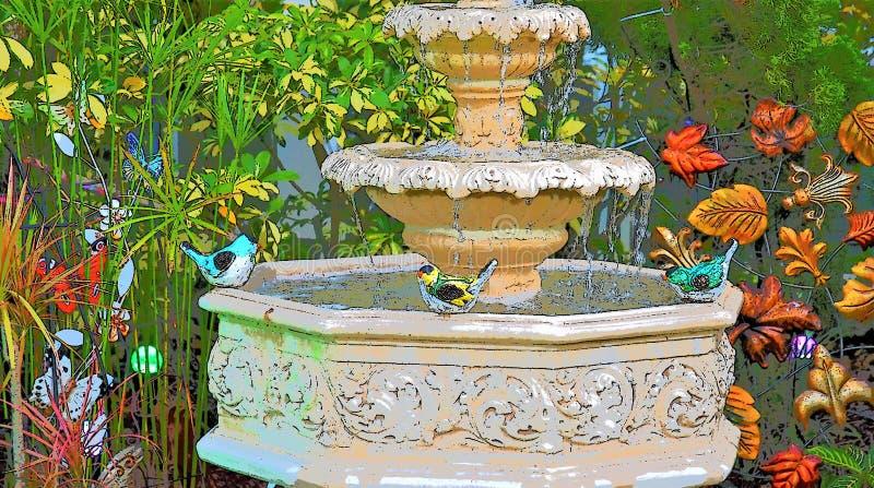 Three beautiful tweety birds sitting on a fountain's edge. Three green, red and yellow beautiful small tweety birds sitting on a fountain's edge and stock photos