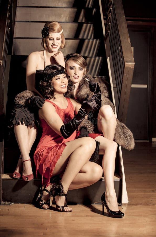 Three Beautiful Vintage Women Stock Photo