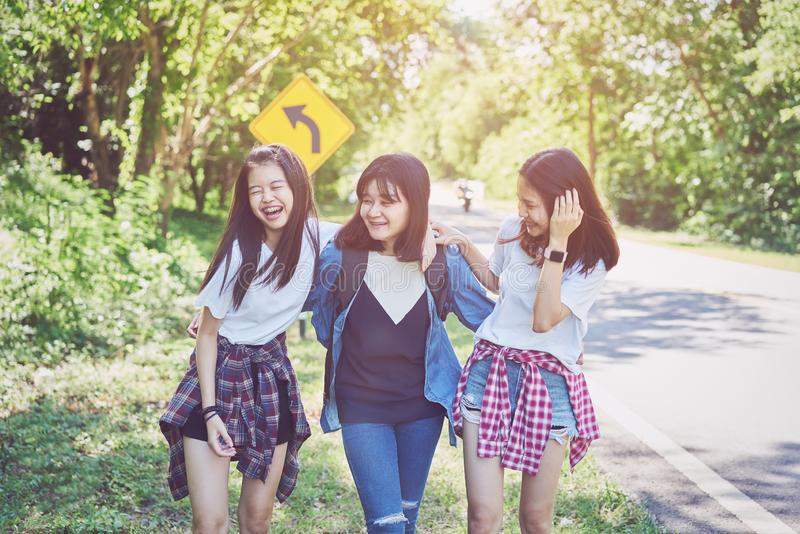 Three beautiful woman relaxing and walks her neck and laughs to travel. Three beautiful women relaxing and walks her neck and laughs to travel. Vacation time stock photos