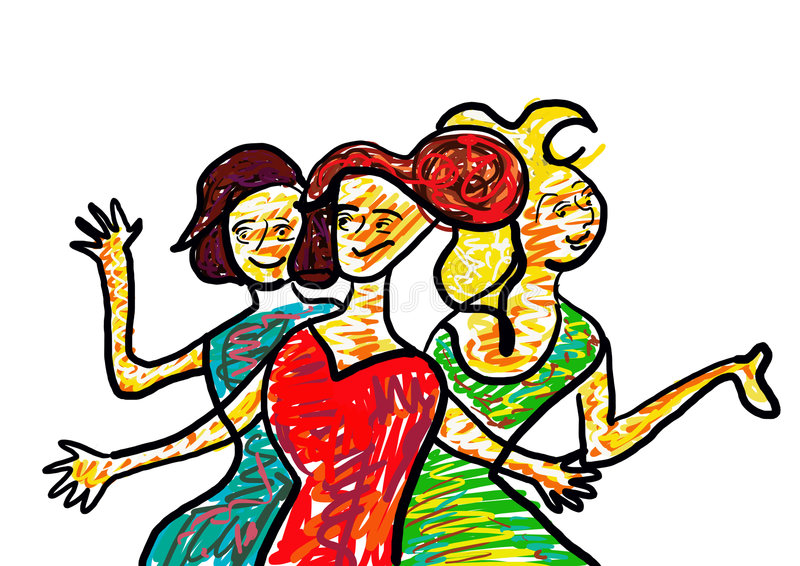 Three Beautiful Women royalty free illustration