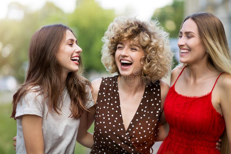 Three Beautiful Young Women Friends royalty free stock image
