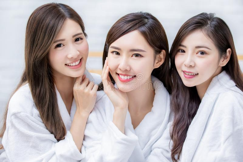 Three beauty smile to you stock photos