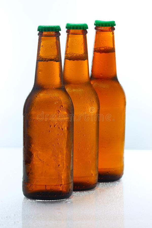 Download Three beer bottles abreast stock photo. Image of froth - 9903014