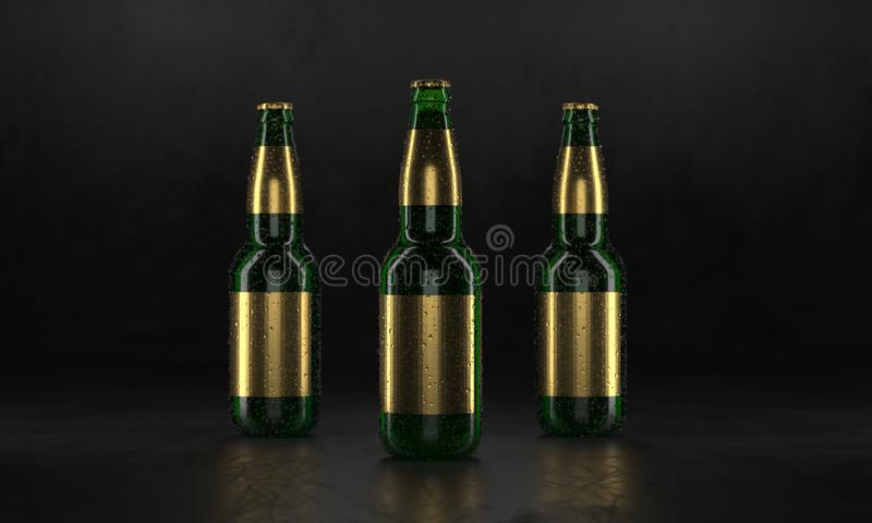 Three beer bottles standing on a rustic black table. Beer mock up. Wet beer bottles withgolden labels and water drops royalty free illustration