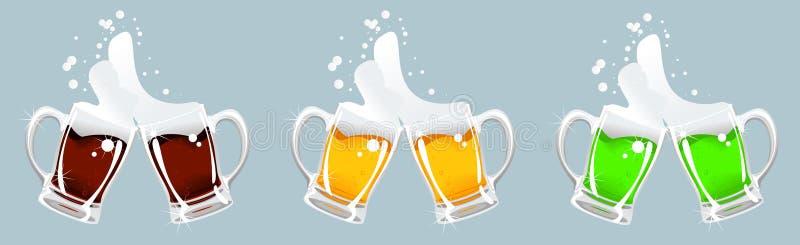 Three beer mug stock illustration